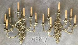 Antique French Rococo Louis XV Style Bronze Brass 7 Light Wall Sconces Pair