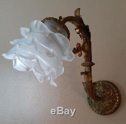 Antique French Rose Petal Wall Sconce Bronze Brass Ornate shabby paris floral