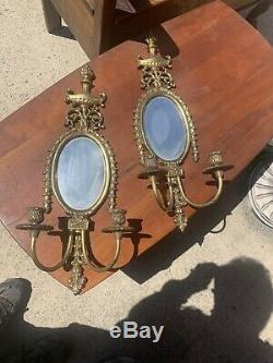 Antique French Style Brass Candle Holder Wall Sconces Pair Glass Mirrors