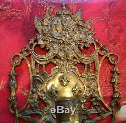 Antique French Sun King LOUIS XVI Empire Ormolu Bronze Wall Sconce