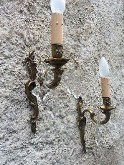 Antique French crystal Wall Sconce prisms gilded Brass bronze Pair light wall