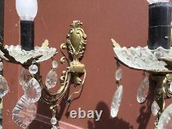 Antique French crystal Wall Sconce prisms gilded Glass bronze light Fixture wall