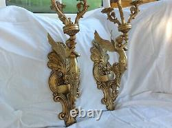 Antique French pair wall lights bronze mythical mermaid figure large size