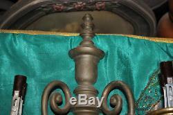 Antique Georgian Style 2 Arm Wall Sconce Light Fixture-Pair-Brass Metal