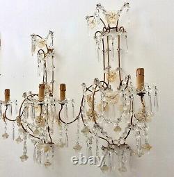 Antique Italian Crystal Sconces Wall Lights Murano Glass Flowers Beaded Gilt