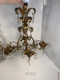 Antique Italian Gold Gilt Leaf/Crystal Prism Drops Candle Wall Scones 64 Cystals