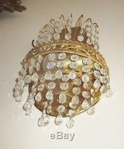 Antique Italian Petite Empire Brass Prisms Chandelier Sconces Wall Lamps pair