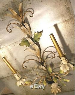Antique Italian ToleToleware Metal Candlestick Holder Wall Sconce Floral Painted