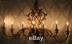Antique Italian Tole Gold Gilt Wide Electric Wall Sconce