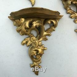 Antique Lot 8 Italian Gilded Giltwood Rococo Wall Mount Brackets Shelves Sconces