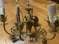 Antique Match Set of 2 Rococo Sconce French Brass Louis Wall Lamp Fixture