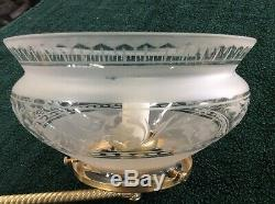 Antique Original Gas Wall Sconce With Beautiful Etched Glass Shade