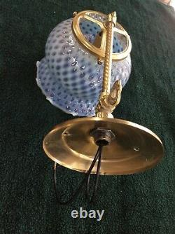 Antique Original Gas Wall Sconce With Blue Hobnail Glass Shade