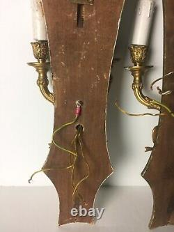 Antique PAIR Brass Wood Bow sconces double arm wall lights 21