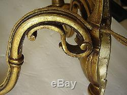 Antique PAIR French Figural Bronze Wall Lights Sconces Original Glass Sleeves