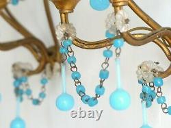 Antique PAIR Wall Light Aqua Blue Opaline Drop Cup Beads 1940 MURANO RARE Sconce