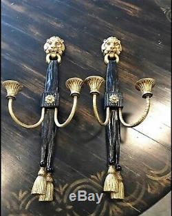 Antique Pair Architectural Victorian Gilded Gold Lion Head Candle Wall Sconce
