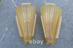 Antique Pair Art Deco Slip Shade Wall Sconce Light Fixture Electrolier Amber