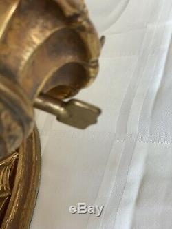 Antique Pair Beaux Arts Dore Bronze Wall Sconces Torch Spider Web Tiffany Era