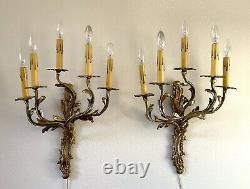 Antique Pair French Louis XV Rococo Bronze Brass 5 Arm Sconces Wall Lamps