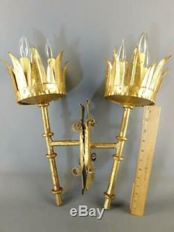 Antique Pair Gilded Tole Gothic Torchiere Wall Sconces Spain