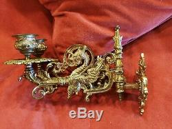 Antique Pair Griffin / Gryphon Double Wall Sconces Late 1800's