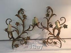 Antique Pair Italian Tole Gold gilt scrolled floral 2 Arm electric wall sconces