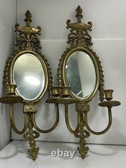 Antique Pair Large Ornate Brass Mirror 2 Candle Wall Sconce 23 Tall X 9 Wide