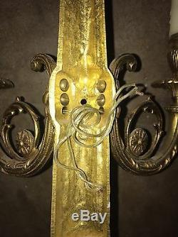 Antique Pair Of Gilt Bronze Bow And Ribbon Wall Sconce Light Fixture Very Tall