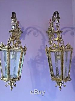 Antique Pair Of Two Sconces (wall Lamps) In Lantern Style