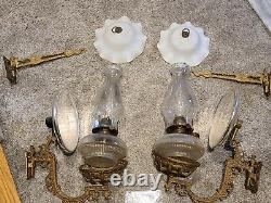 Antique Pair Victorian Wall Sconce Oil Lamps withBrackets, Reflectors & Top Shades