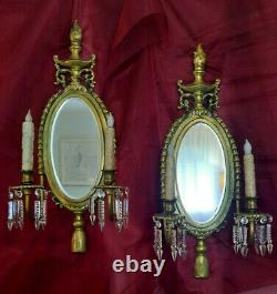 Antique Pair of Brass Crystal & Mirrored Candle Holder Wall Sconces 1940-50's