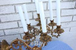 Antique Pair of French Cast Brass Louis XVI Wall Light Sconces, 19th C