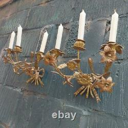 Antique Pair of Gilded Floral Candle Sconces French Brass Candle Wall Sconces
