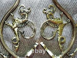 Antique-Pair of wall sconces -art nouveau-Manticora- solid bronze. France
