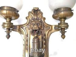 Antique Palatial 3 Lights Wall Sconce Big 20´´ Edwardian Lion Face 10 Lbs Bronze
