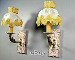 Antique Paris Porcelain Hand Painted Sevres Style French PAIR Wall Sconce Light