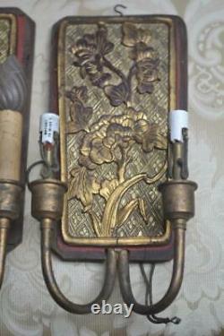 Antique Pr. Art Nouveau Bryant Electric Wall Sconce Lights Wood Brass Bronze 1910
