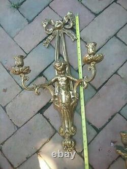 Antique Putti Rocco Wall Sconces Candelabra French style Gilt color. Spelter