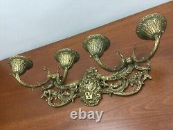 Antique Rococo 4 Arm Brass Wall Mounted Sconce Light Fixture Bronze Metal Gold