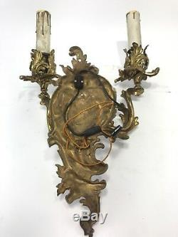 Antique Rococo Sconce French Brass Bronze Louis Wall Light Lamp Fixture Electric