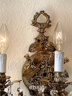Antique Spanish Bronze Brass Ornate 3 Arm Wall Sconce w Crystal Prisms Wall Lamp