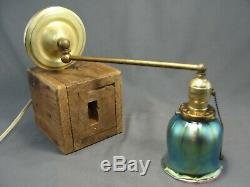 Antique Swing Arm Brass Wall Sconce Blue Aurene Glass Squash Blossom Shade