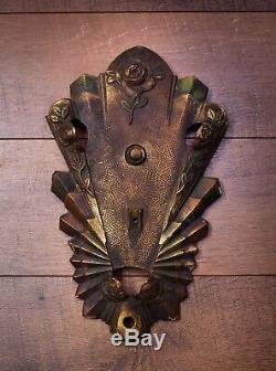 Antique VINTAGE Art Deco ART NOUVEAU Slip Shade WALL SCONCE PLATE-GOLD, FLOWERS