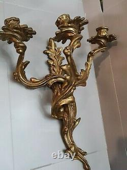 Antique VTG LOUIS XV ROCOCO ACANTHUS Florentine BRASS BRONZE WALL CANDLE SCONCES
