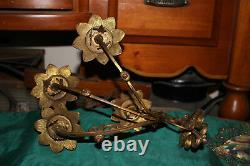 Antique Victorian Brass Metal 4 Arm Wall Sconce Candle Holders Pair Flowers
