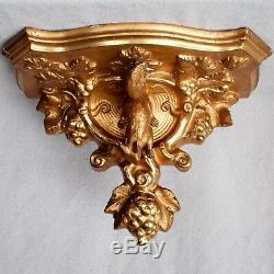 Antique Victorian Gilt Plaster Squirrel Grapes Wall Sconce Shelf Bracket Corbel