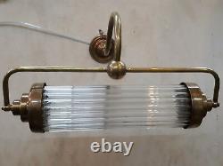 Antique Vintage Art Deco Brass & Glass Rod Ship Light Fixture Wall Sconces Lamp