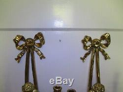 Antique/Vintage Brass Cherubs Candle Wall Sconces W Glass Prisms Pair 21 Tall