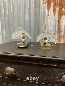 Antique Vintage Carl Fagerlund Orrefors Leaf Sconce Wall Light PAIR Glass Brass